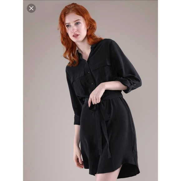 91aa0cb431 Grana Dresses | 100 Silk Utility Shirt Dress In Black L | Poshmark